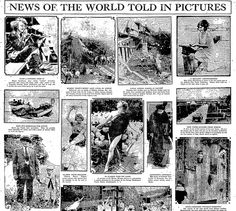 "A newspaper article showing world news in pictures, published in the Philadelphia Inquirer (Philadelphia, Pennsylvania), 9 August 1922. Read more on the GenealogyBank blog: ""6 Genealogy Projects to Interest Kids & Teens in Family History."" http://blog.genealogybank.com/6-genealogy-projects-to-interest-kids-teens-in-family-history.html"