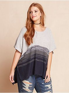 """Trend alert: oversize sweaters are having a major moment and we're positive that this sweater started it. The heather grey knit style has more of a poncho silhouette with a throw-and-go pullover design.Ombré stripes show off your true colors.<div><br></div><div><b>Model is 5'9"""", size 1<br></b><div><ul><li style=""""LIST-STYLE-POSITION: outside !important; LIST-STYLE-TYPE: disc !important"""">Size 1 measures 32"""" from shoulder</li><li style=""""LIST-STYLE-POSITION: outside !impor..."""