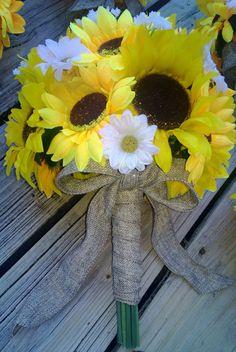 Sunflower Bouquet, Sunflower Wedding, Yellow Bouquet, Burlap Bouquet, Rustic wedding, Sunflower wedding theme, Sunflower