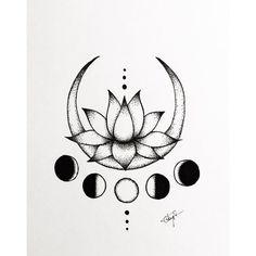 Yoga Tattoos, Star Tattoos, Cute Tattoos, Lotus Drawing, Moon Drawing, Moon Phases Drawing, Meditation Tattoo, Yoga Meditation, Lottus Tattoo
