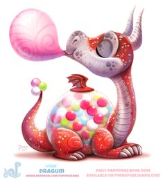 DeviantArt Daily Paint Dragum by Cryptid-Creations Cute Food Drawings, Cute Animal Drawings, Kawaii Drawings, Cool Drawings, Cute Fantasy Creatures, Cute Creatures, Cartoon Art, Cute Cartoon, Animal Puns