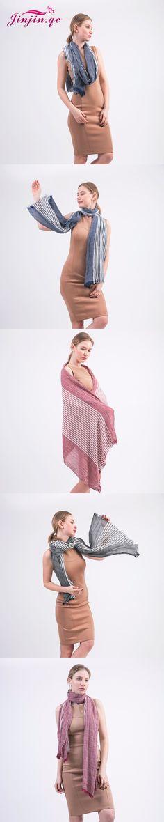 [Jinjin.QC] Fashion linen Scarf Spring Women shawls And Scarves Echarpe foulard femme cotton jersey hijab striped bandana sjaal