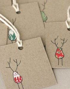 Sweet Christmas gift tags, using fabric scraps. Noel Christmas, Christmas Gift Tags, Christmas Wrapping, All Things Christmas, Winter Christmas, Reindeer Christmas, Christmas Paper, Funny Christmas, Simple Christmas