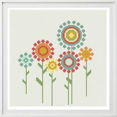 Wedding Cross Stitch Patterns, Cross Stitch Flowers, Cross Stitch Designs, Retro Flowers, Small Flowers, 123 Cross Stitch, Flower Outline, Types Of Stitches, Cross Stitching