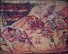 Ilias Ambrosiana (dating from the late 5th century) which shows the Greek soldiers at Troy setting up camp and feasting