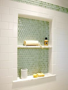 inset shelf with glass tile accent soothing backsplash tile color home tours