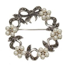 Faux Pearl Flowers and Genuine Marcasite Wreath Brooch for Christmas or Anytime