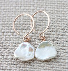 Keishi Pearl Earrings on 14k Rose Gold Filled Ear Wires