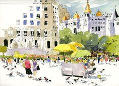 Urban Sketchers: Plaça de Catalunya, Barcelona by Shari Blaukopf Sketch Book, Urban Sketchers, Painting, Illustration Art, Sketchers, Art, Watercolor Landscape, Watercolour Inspiration, Travel Sketches