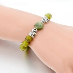 Green Natural Stone Bead Elastic Elephant Bracelet