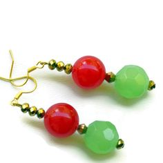Strawberries Festive Green Red Earrings/ Bright by ALFAdesigns, $10.99
