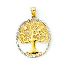 14K solid gold Two-tone Tree of Life Oval Pendant with Filigree bead detail. Measures 1 1/4 x 7/8.