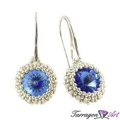 Kolczyki Beaded Swarovski Elements - Sapphire | Tarragon Art - stylowa biżuteria artystyczna