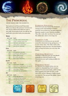 DnD element bending class - Warlock Patron: The Primordial (Final Draft) Dungeons And Dragons Classes, Dungeons And Dragons Homebrew, Dungeons And Dragons Characters, Dnd Characters, Dungeons And Dragons Races, Writing Characters, Warlock Class, Warlock Dnd, Warlock Build