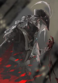 Safebooru - artist request ascot blonde hair blood bloodborne gloves hat hat feather highres lady maria of the astral clocktower long hair ponytail rakuyo (bloodborne) solo sword the old hunters tricorne weapon white hair Bloodborne Concept Art, Bloodborne Art, Character Portraits, Character Art, Character Design, Dark Blood, Old Blood, Art Dark Souls, Lady Maria