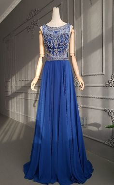 Vintage A Line Sheer Back Long Royal Blue Chiffon Beaded Special Occasion Party Dress Winter Prom Dresses, Royal Blue Prom Dresses, Formal Dresses, Orange Blush, Purple Grey, Beaded Chiffon, Prom Dresses Online, Buy Dress, Special Occasion