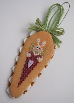 Completed CrossEyed Cricket Easter Bunny by CanyonsideNeedlework, $23.50