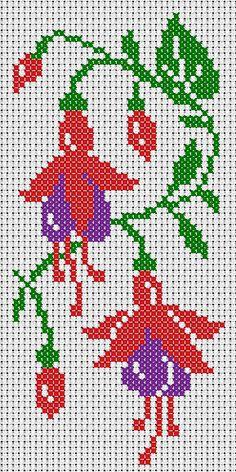 Un fuchsia broderie main et machine. Cross Stitch Tree, Cross Stitch Borders, Simple Cross Stitch, Cross Stitch Baby, Cross Stitch Flowers, Cross Stitch Designs, Cross Stitching, Cross Stitch Embroidery, Cross Stitch Patterns