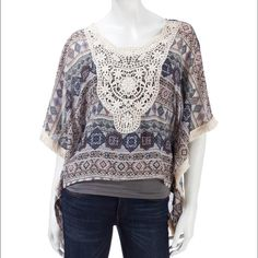 Fringe Lace Poncho Add a little flair to your outfit by topping it off with this gorgeous kimono . Splashed with a bold mixed print , this poncho features fringed trim along the hem for a little extra flirty movement.. What's not to LOVE??❤️❤️.   100% Polyester California Gypsy Tops