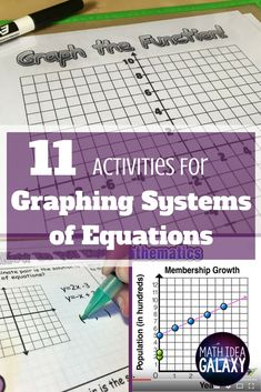 11 Graphing Activities for Solving Systems of Linear Equations Math Teacher, Math Classroom, Classroom Resources, Teacher Stuff, Teaching Math, Maths, Teaching Resources, Teaching Ideas, Classroom Ideas