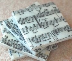 Sheet Music Coasters | Community Post: 17 Coaster DIYs Made With 20-Cent Tile