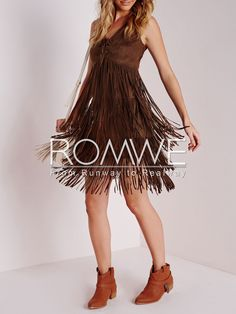 Brown Sleeveless V Neck Tassel Dress 22.99