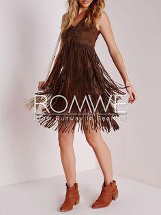 Brown Sleeveless V Neck Tassel Dress 22.99