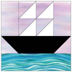 "Ship at Sea Quilt Block Pattern - 12"" & 6""Blocks"