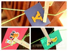 string scavenger hunt for indoors, one color string per boy, clip their name letters and some stickers along the way, weaving through a few rooms. Gross Motor Activities, Spelling Activities, Alphabet Activities, Hands On Activities, Craft Activities For Kids, Preschool Activities, Crafts For Kids, Indoor Activities, Toddler Fun
