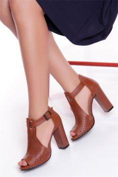 Topuklu Ayakkabı Taba Deri-16Y53