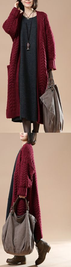 Burgundy cable knit cardigans plus size sweater coats
