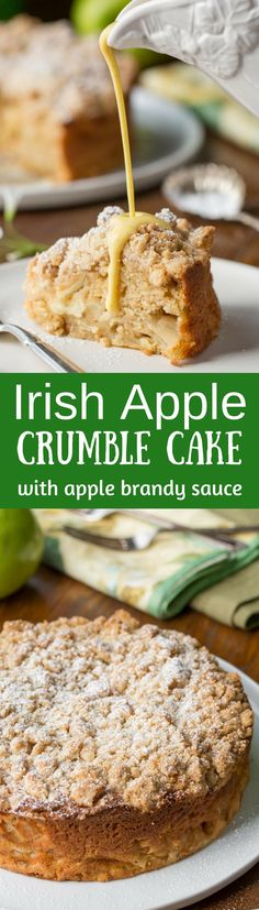 Irish Apple Crumble Cake with Apple Brandy Sauce ~ made with fresh apples, plenty of cinnamon, and a sweet crumble top, this rustic and moist cake is homey and delightful especially when drizzled with the Apple Brandy Sauce! www.savingdessert...