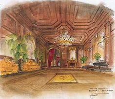 """Dante Ferretti's sketch of the ballroom in Martin Scorsese's """"The Age of Innocence"""""""