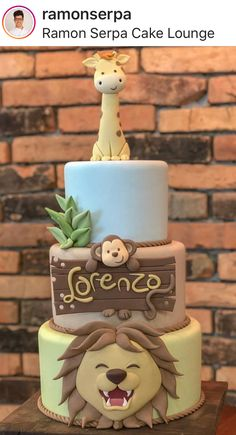 Safari Jungle Safari Cake, Safari Cakes, Safari Party, Safari Theme Birthday, Boys First Birthday Party Ideas, Baby First Birthday, Tortas Baby Shower Niña, Baby Shower Cakes, Bolo Fake Eva
