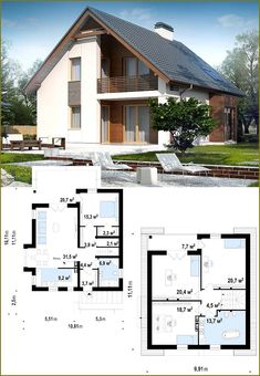 This photo is seriously an outstanding design concept. Cottage House Plans, Dream House Plans, Small House Plans, Cottage Homes, Modern House Floor Plans, Modern Bungalow House, Small House Design, Modern House Design, Casas Country