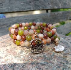 Layered Beaded Gemstone Charm Bracelet, Stone Bracelet, Boho Bracelet, Gift For Her by PurpleMoonJewelryCA on Etsy