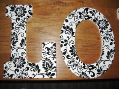 modge podge DIY with wallpaper and wooden letters
