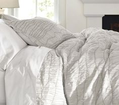 Grey ruched duvet cover