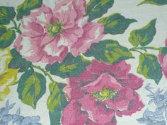 """Vtg Mid Century Lightweight Textures Cabbage Rose Floral Fabric 38"""" x 2yds"""