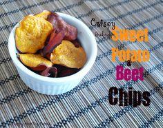 Crispy baked sweet potato & beet chips