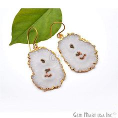 892aeb4bc Solar Druzy Dangle Earrings, 22k Gold Electroplated Hook Earrings  (DZER-12508)