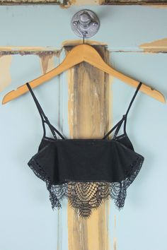 Eyelash Lace Bralette - Black