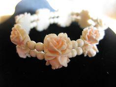 Vintage Carved Rose Celluloid Link  Bracelet