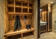 A modern rustic ski lodge infused with classic cabin decor was designed by SANDBOX Studio along with Postcard Properties in Martis Camp, California. Ski Chalet Decor, Ski Decor, Deco Studio, Condo Decorating, Lodge Style, Modern Rustic, House Design, Scale, Mudroom