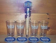 Sam Samuel Adams Seasonal Tap Handle Marker 4 Beer Pint Glasses & Coasters New