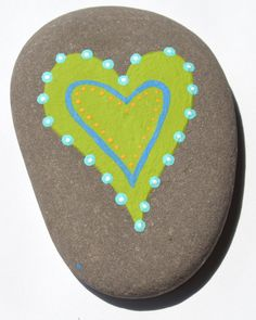 simple heart painted stone