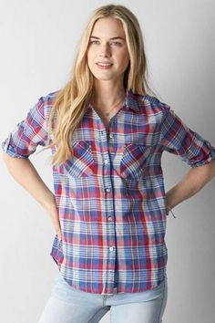 AEO Plaid Boyfriend Shirt by AEO | Like his, but made just for you.  Shop the AEO Plaid Boyfriend Shirt and check out more at AE.com.