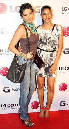 Carol Gracias with a friend at LG Mobile launch event. #Style #Bollywood #Fashion #Beauty #Page3