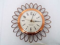 MID CENTURY ELECTRIC WESTCLOX WALL CLOCK FRILL MODEL S8-G SUNBURST COPPER RETRO