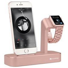 Apple Watch Stand, iPhone 6s/ 6s Plus Dock, iVAPO [2 in 1 Charging Dock] Apple Watch Charging Stand, Solid Aluminum Charger Station for Apple Watch 38mm/ 42mm, iPhone 5/SE (MM610) (Rose Gold)